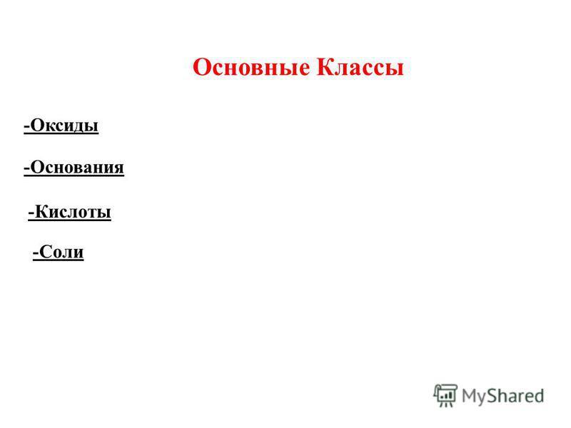 Основные Классы -Оксиды -Основания -Кислоты -Соли