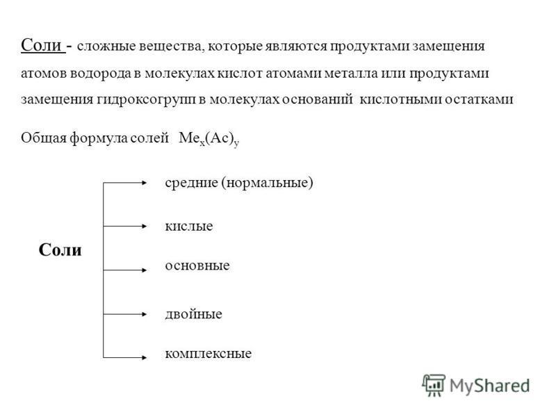 Соли - сложные вещества, которые являются продуктами замещения атомов водорода в молекулах кислот атомами металла или продуктами замещения гидроксогрупп в молекулах оснований кислотными остатками Общая формула солей Me x (Ac) y Соли средние (нормальн
