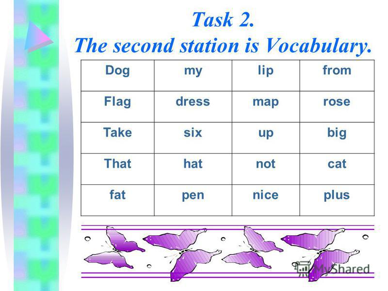 Task 2. The second station is Vocabulary. Dogmylipfrom Flagdressmaprose Takesixupbig Thathatnotcat fatpenniceplus
