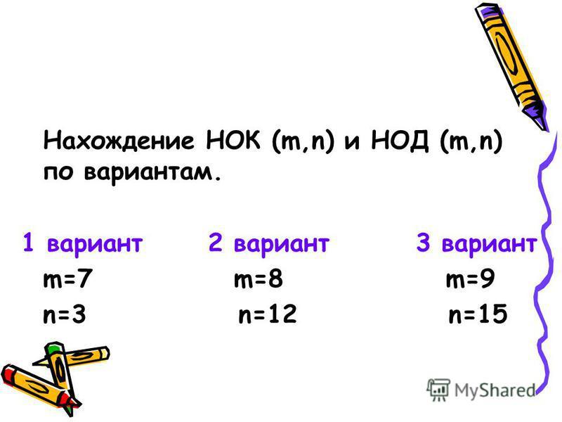 Нахождение НОК (m,n) и НОД (m,n) по вариантам. 1 вариант 2 вариант 3 вариант m=7 m=8 m=9 n=3 n=12 n=15