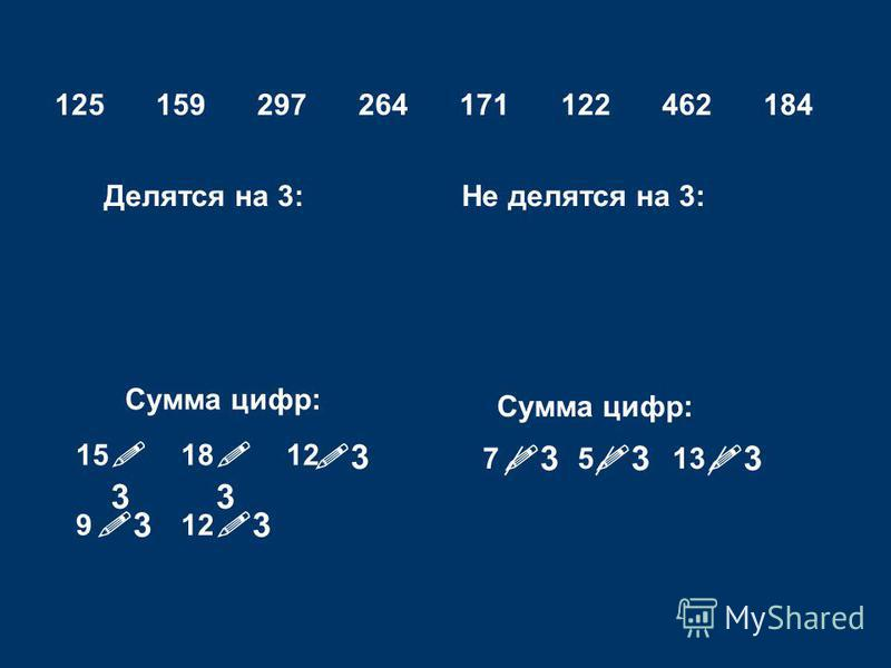 125159297264171122462184 Делятся на 3:Не делятся на 3: Сумма цифр: 151812 9 1375 3 3 3 3 3 3 3 3