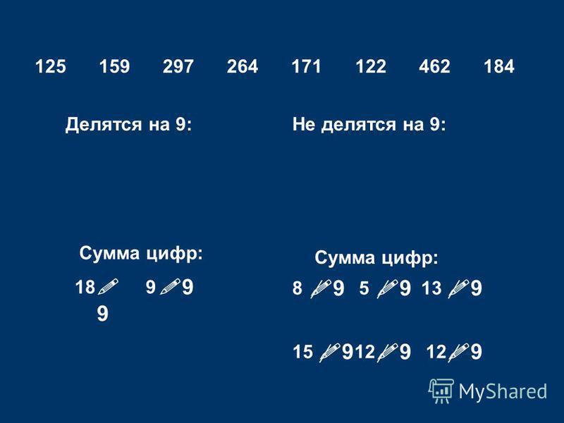 9 125159297264171122462184 Делятся на 9:Не делятся на 9: Сумма цифр: 8 18 13 9 5 121512 9 9 9 9 9 9 9