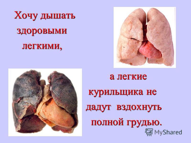 Хочу дышать Хочу дышать здоровыми здоровыми легкими, легкими, а легкие а легкие курильщика не курильщика не дадут вздохнуть дадут вздохнуть полной грудью. полной грудью.