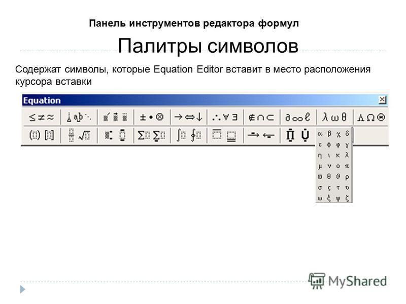 Палитры символов Содержат символы, которые Equation Editor вставит в место расположения курсора вставки Панель инструментов редактора формул