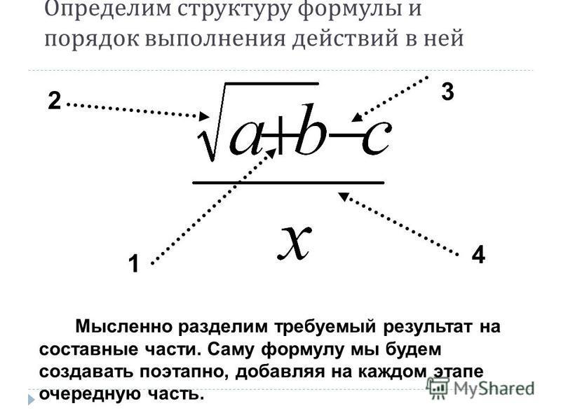 Определим структуру формулы и порядок выполнения действий в ней 2 3 1 4 Мысленно разделим требуемый результат на составные части. Саму формулу мы будем создавать поэтапно, добавляя на каждом этапе очередную часть.