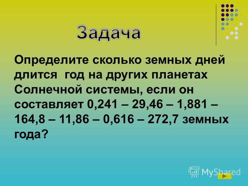 Определите сколько земных дней длится год на других планетах Солнечной системы, если он составляет 0,241 – 29,46 – 1,881 – 164,8 – 11,86 – 0,616 – 272,7 земных года?