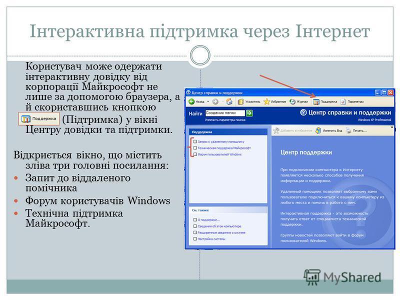 Інтерактивна підтримка через Інтернет Користувач може одержати інтерактивну довідку від корпорації Майкрософт не лише за допомогою браузера, а й скориставшись кнопкою (Підтримка) у вікні Центру довідки та підтримки. Відкриється вікно, що містить злів