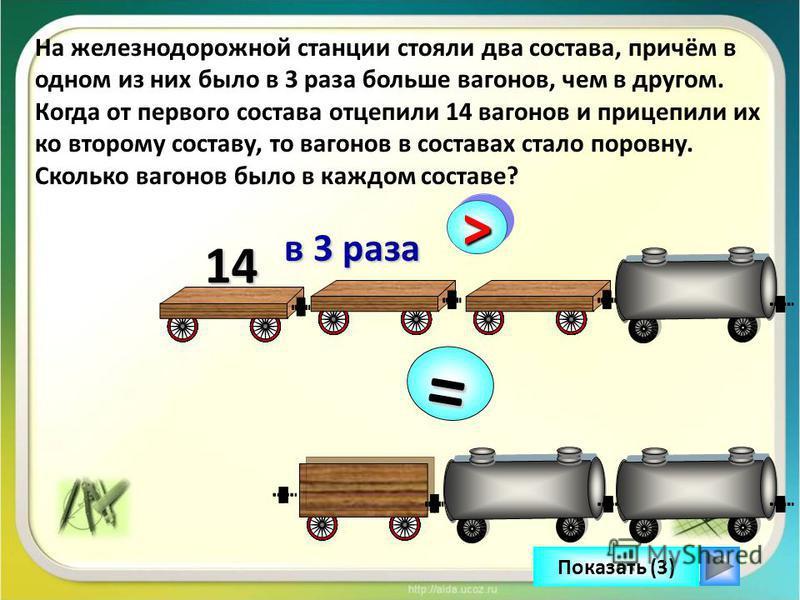 >> в 3 раза в 3 раза 14 = Показать (3) На железнодорожной станции стояли два состава, причём в одном из них было в 3 раза больше вагонов, чем в другом. Когда от первого состава отцепили 14 вагонов и прицепили их ко второму составу, то вагонов в соста