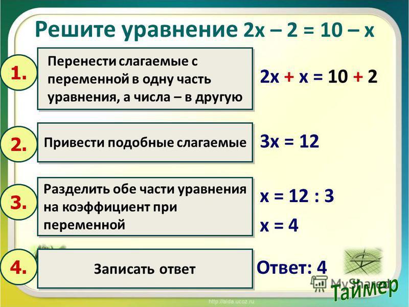 Решите уравнение 2 х – 2 = 10 – х 2 х + х = 10 + 2 Перенести слагаемые с переменной в одну часть уравнения, а числа – в другую Перенести слагаемые с переменной в одну часть уравнения, а числа – в другую 1. Привести подобные слагаемые 2. Разделить обе