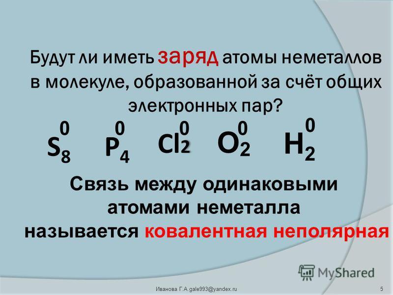 Будут ли иметь заряд атомы неметаллов в молекуле, образованной за счёт общих электронных пар? 2 Cl 2 О 2 Н2Н2 S 8 Р 4 0000 0 Связь между одинаковыми атомами неметалла называется ковалентная неполярная 5Иванова Г.А.gale993@yandex.ru