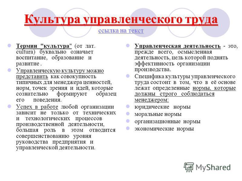 Культура управленческого труда ссылка на текст ссылка на текст ссылка на текст Термин