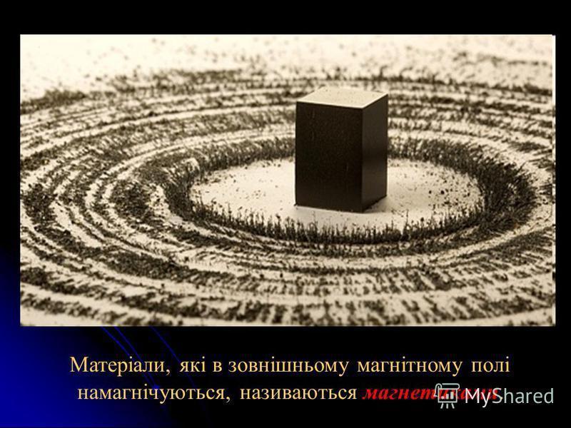Матеріали, які в зовнішньому магнітному полі намагнічуються, називаються магнетиками.