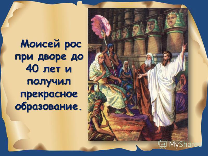 Моисей рос при дворе до 40 лет и получил прекрасное образование.