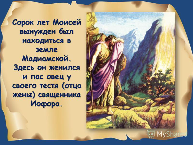 Сорок лет Моисей вынужден был находиться в земле Мадиамской. Здесь он женился и пас овец у своего тестя (отца жены) священника Иофора.