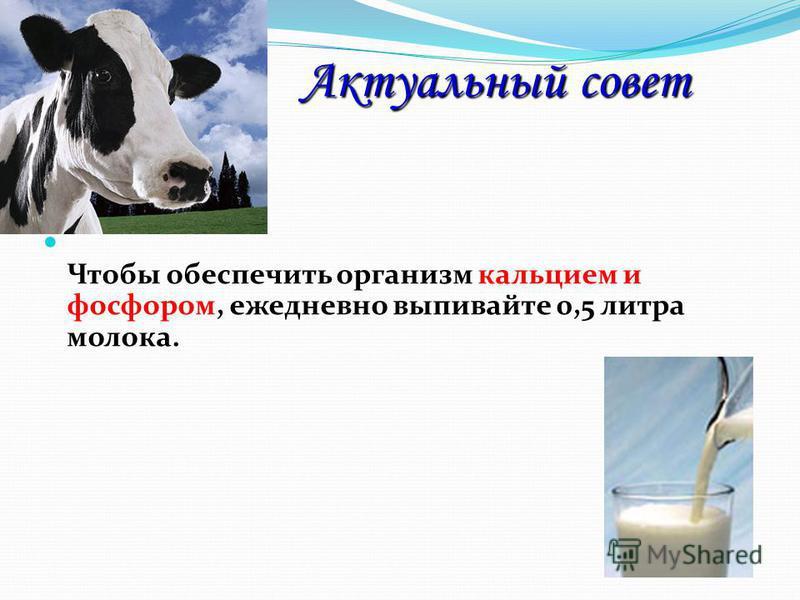 Актуальный совет Актуальный совет Чтобы обеспечить организм кальцием и фосфором, ежедневно выпивайте 0,5 литра молока.
