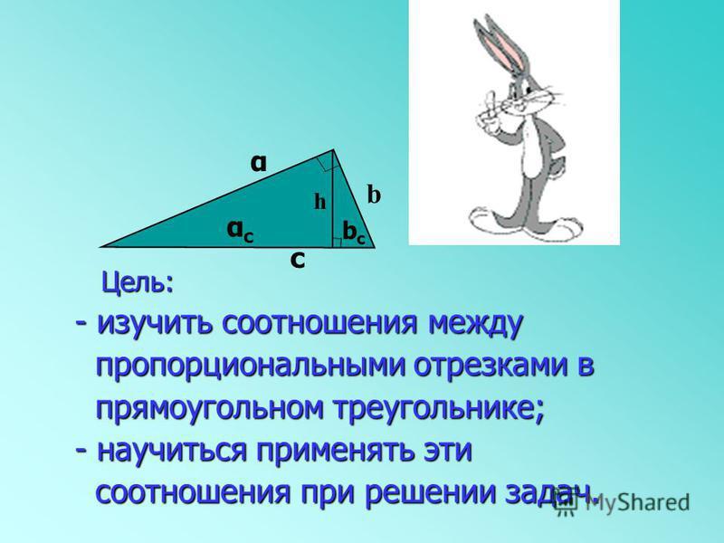 - изучить соотношения между - изучить соотношения между пропорциональными отрезками в пропорциональными отрезками в прямоугольном треугольнике; прямоугольном треугольнике; - научиться применять эти - научиться применять эти соотношения при решении за