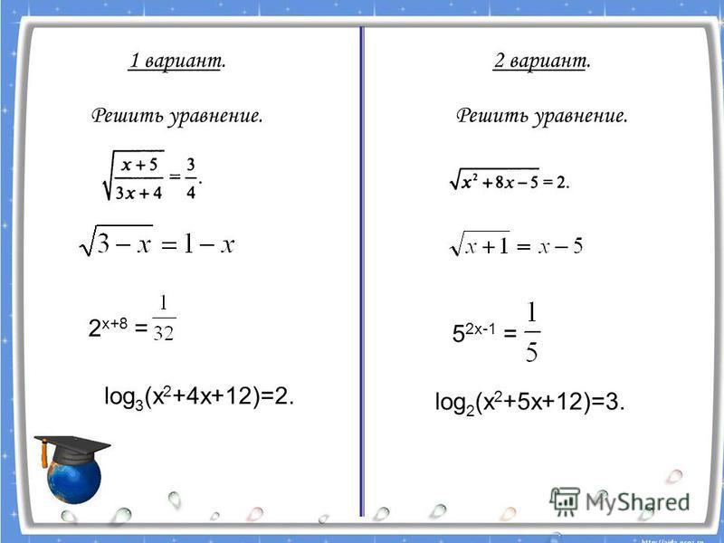 1 вариант. Решить уравнение. 2 вариант. Решить уравнение. 2 х+8 = log 3 (х 2 +4 х+12)=2. 5 2 х-1 = log 2 (х 2 +5 х+12)=3.