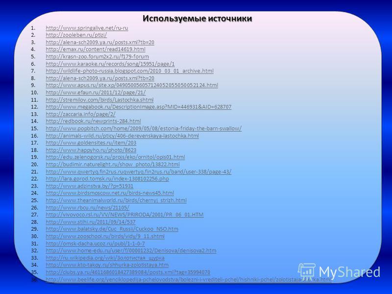 Используемые источники 1.http://www.springalive.net/ru-ruhttp://www.springalive.net/ru-ru 2.http://zooleben.ru/ptizi/http://zooleben.ru/ptizi/ 3.http://alena-sch2009.ya.ru/posts.xml?tb=20http://alena-sch2009.ya.ru/posts.xml?tb=20 4.http://emax.ru/con