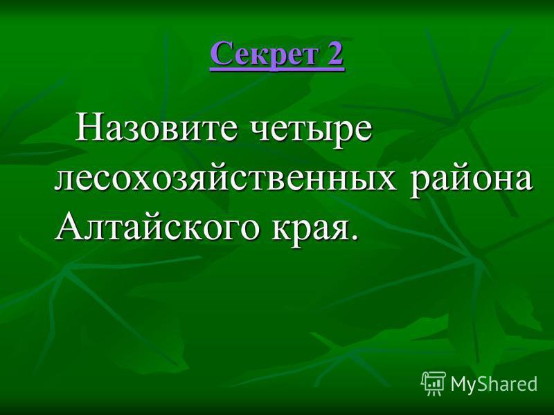 Секрет 2 Секрет 2 Назовите четыре лесохозяйственных района Алтайского края. Назовите четыре лесохозяйственных района Алтайского края.
