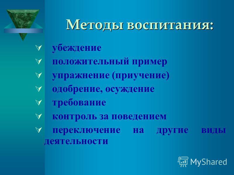 Методы воспитания: убеждение положительный пример упражнение (приучение) одобрение, осуждение требование контроль за поведением переключение на другие виды деятельности