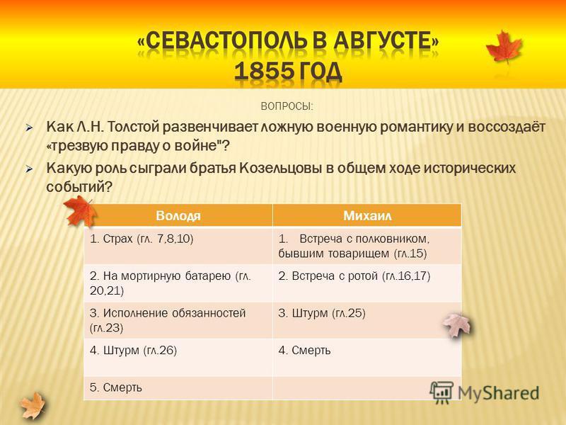 ВОПРОСЫ: Как Л.Н. Толстой развенчивает ложную военную романтику и воссоздаёт «трезвую правду о войне