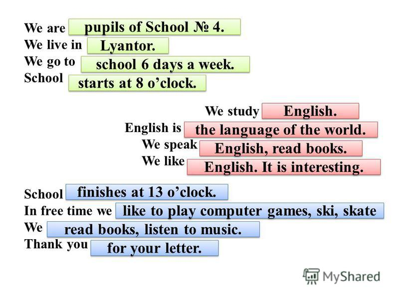 We are … We live in … We go to … School … We study … English is … We speak We like … School … In free time we …. We … Thank you … pupils of School 4. Lyantor. school 6 days a week. starts at 8 oclock. English. English. It is interesting. English, rea
