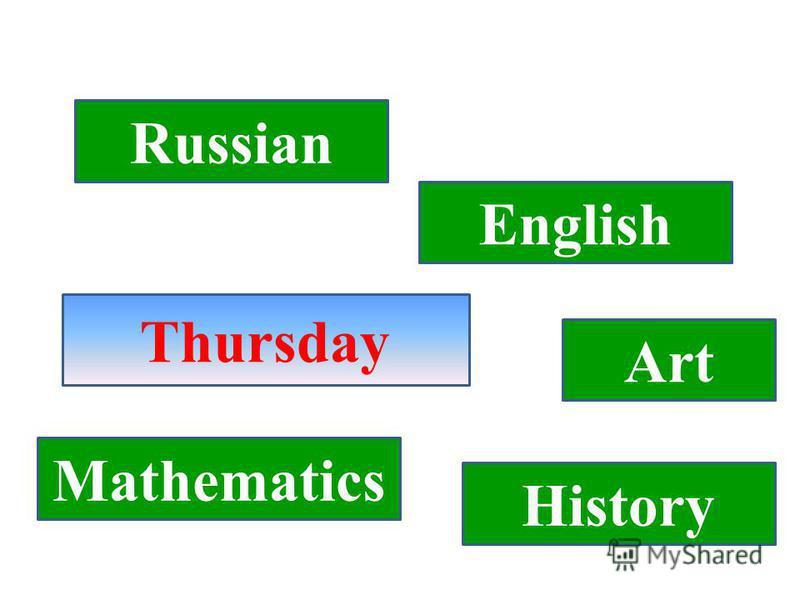 Thursday Russian English Art History Mathematics