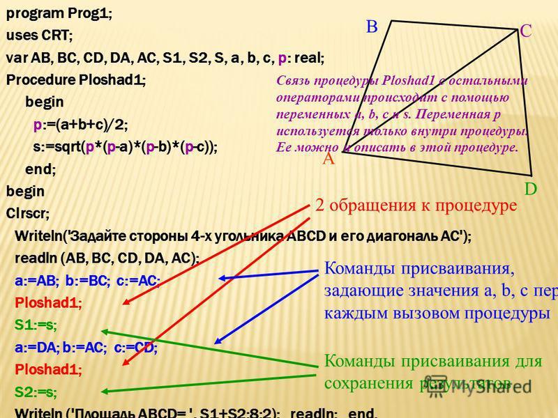 Составить программу для вычисления площади выпуклого 4-угольника, заданного длинами его сторон и диагональю. A B D C Диагональ делит 4-угольник на два 3-угольника, к которым применима формула Герона: