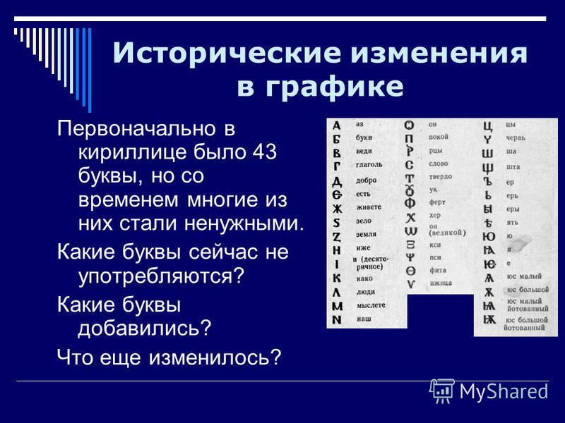 Исторические изменения в графике Первоначально в кириллице было 43 буквы, но со временем многие из них стали ненужными. Какие буквы сейчас не употребляются? Какие буквы добавились? Что еще изменилось?