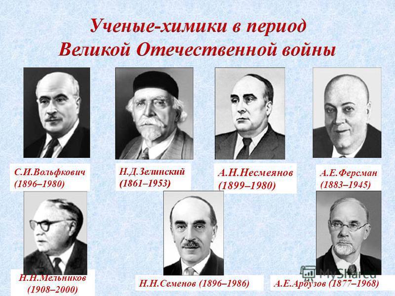 А.Е.Ферсман (1883–1945) А.Е.Арбузов (1877–1968)Н.Н.Семенов (1896–1986) С.И.Вольфкович (1896–1980) А.Н.Несмеянов (1899–1980) Н.Н.Мельников (1908–2000)