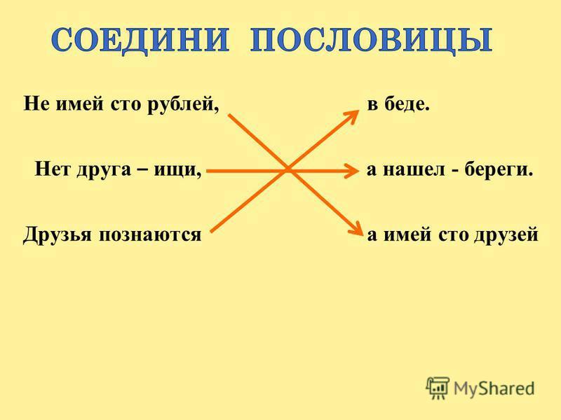 Не имей сто рублей, в беде. Нет друга – ищи, а нашел - береги. Друзья познаются а имей сто друзей