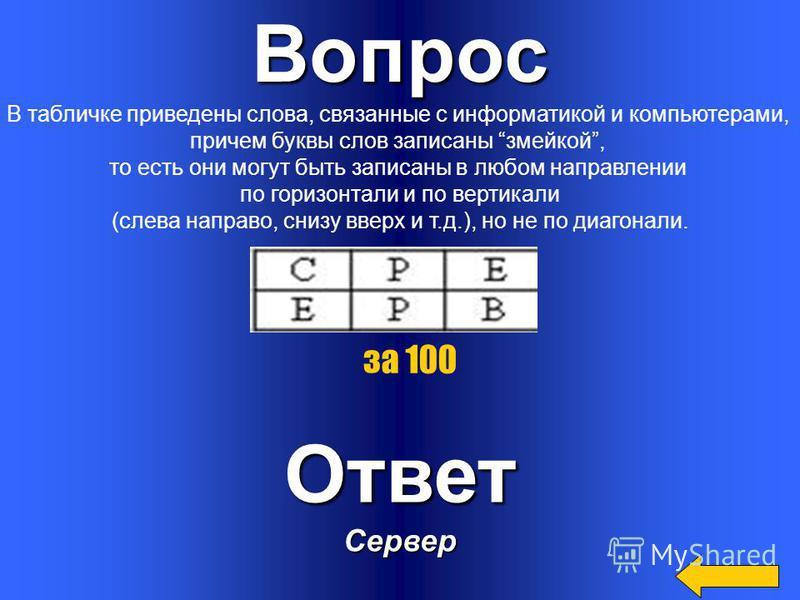 Вопрос Составная часть презентации, содержащая различные объекты,называется..Ответ Слайд за 500
