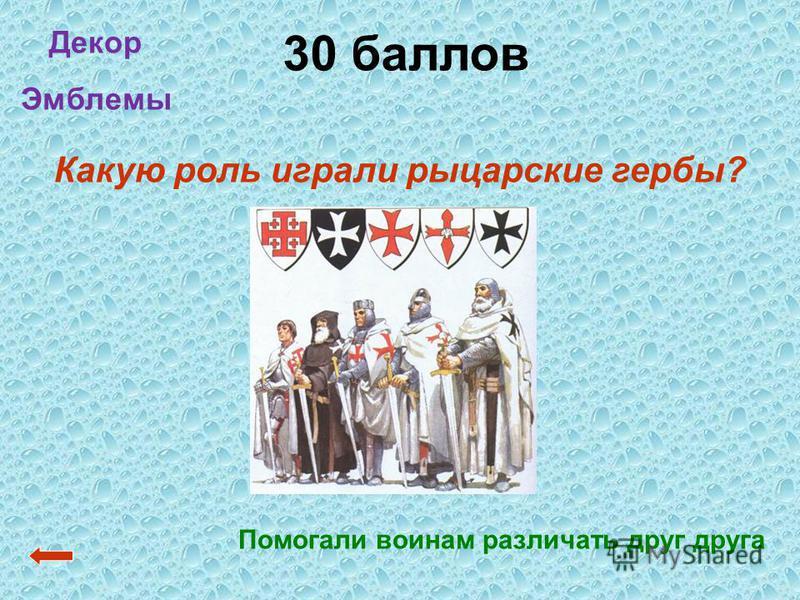 30 баллов Помогали воинам различать друг друга Декор Эмблемы Какую роль играли рыцарские гербы?