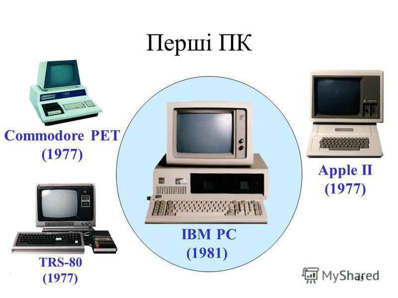 44 Події 80-х років ХХ сторіччя До найбільш важливих можна віднести: розробку стека TCP/IP становлення Інтернету стандартизацію технологій локальних мереж появу персональних комп'ютерів і операційних систем для них.