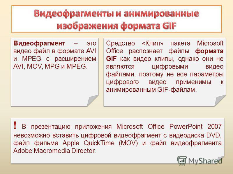 Видеофрагмент – это видео файл в формате AVI и MPEG с расширением AVI, MOV, MPG и MPEG. Видеофрагмент – это видео файл в формате AVI и MPEG с расширением AVI, MOV, MPG и MPEG. Средство «Клип» пакета Microsoft Office распознает файлы формата GIF как в