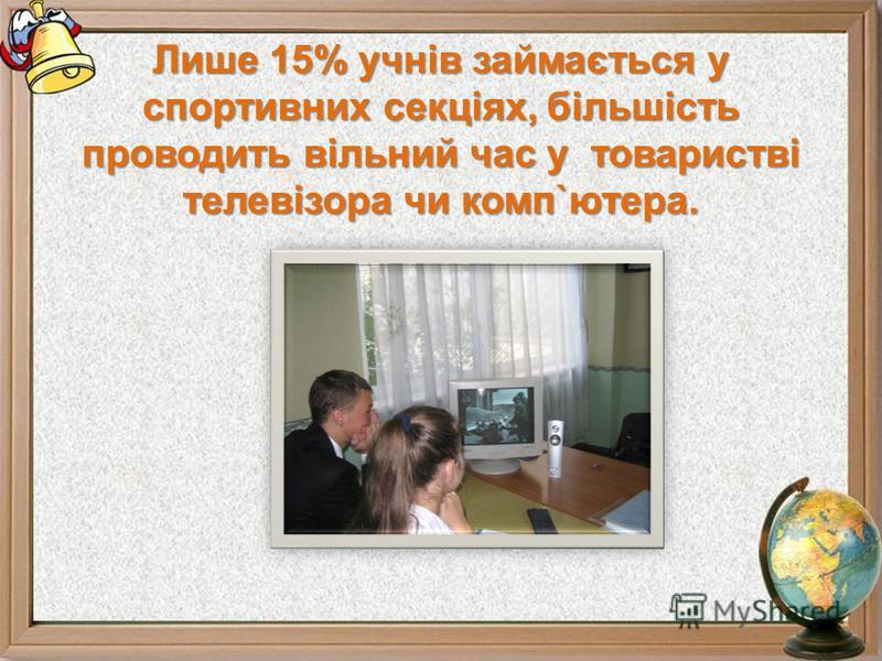 Лише 15% учнів займається у спортивних секціях, більшість проводить вільний час у товаристві телевізора чи комп`ютера.