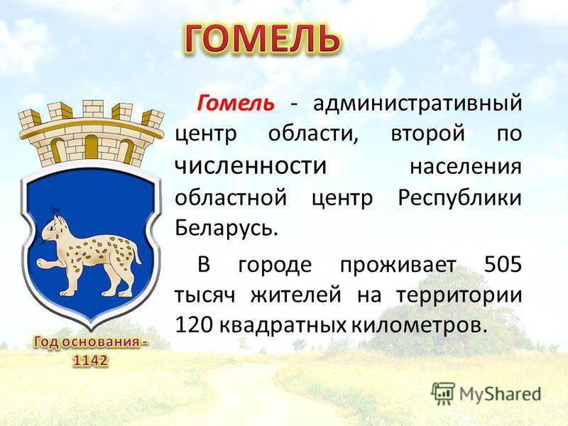 Гомель - административный центр области, второй по численности населения областной центр Республики Беларусь. В городе проживает 505 тысяч жителей на территории 120 квадратных километров.