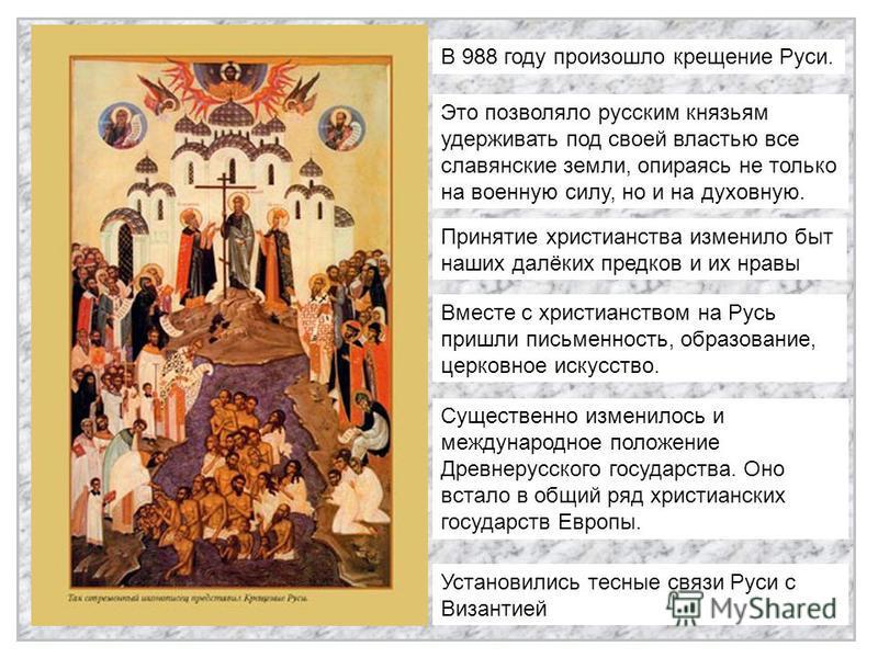 В 988 году произошло крещение Руси. Это позволяло русским князьям удерживать под своей властью все славянские земли, опираясь не только на военную силу, но и на духовную. Принятие христианства изменило быт наших далёких предков и их нравы Вместе с хр
