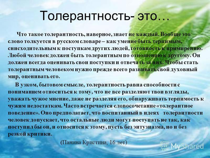 Что такое толерантность, наверное, знает не каждый. Вообще это слово толкуется в русском словаре – как умение быть терпимым, снисходительным к поступкам других людей, готовность к примирению. Любой человек должен быть толерантным по отношению к друго