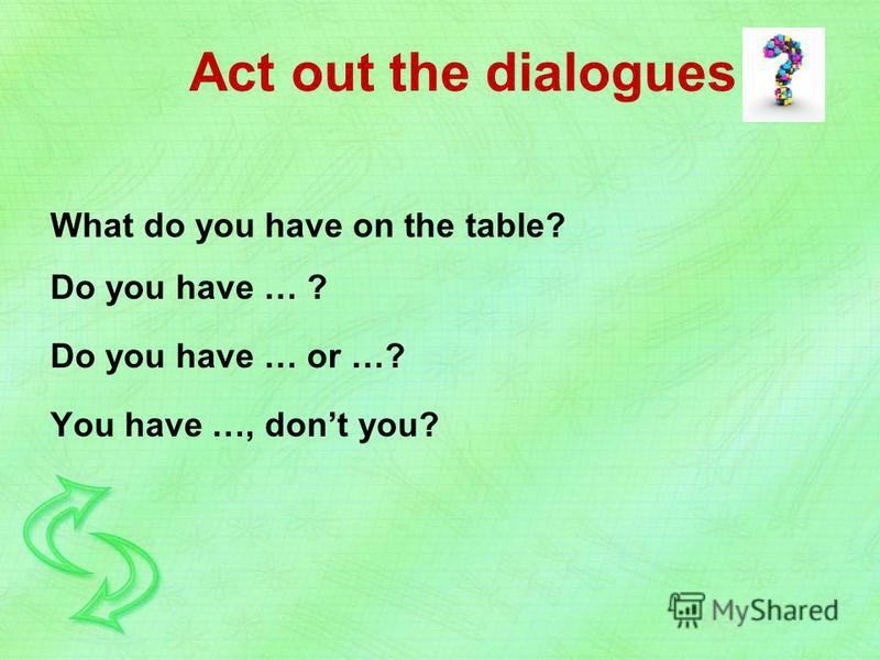 What do you have on the table? Do you have … ? Do you have … or …? You have …, dont you? Act out the dialogues