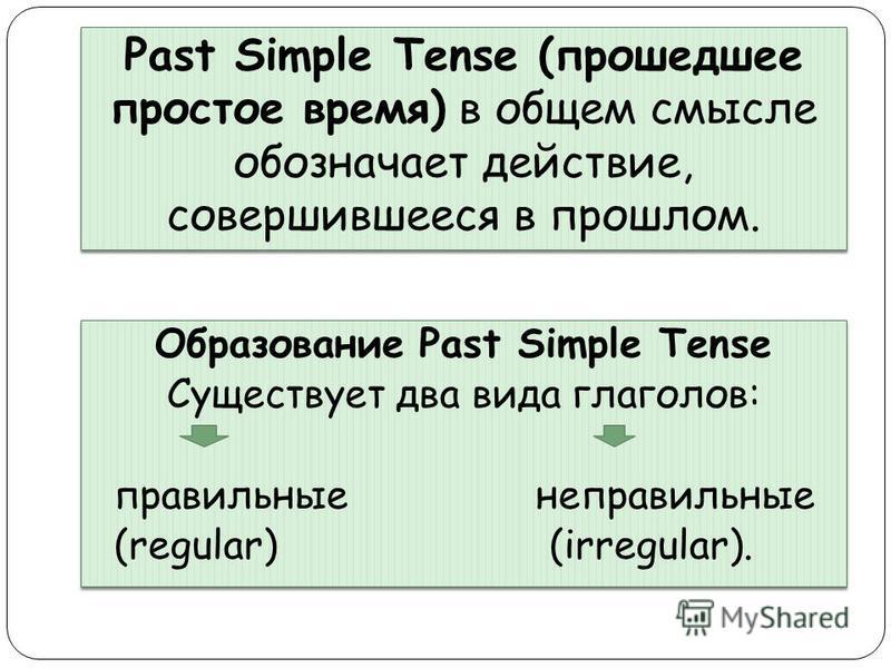 Past Simple Tense (прошедшее простое время) в общем смысле обозначает действие, совершившееся в прошлом. Образование Past Simple Tense Существует два вида глаголов: правильные неправильные (regular) (irregular). Образование Past Simple Tense Существу