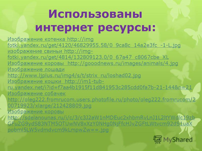 Изображение котенка http://img fotki.yandex.ru/get/4120/46829955.58/0_9ca8c_14a2e3fc_-1-L.jpg изображение свиньи http://img- fotki.yandex.ru/get/4814/132809123.0/0_67a47_c8067cbe_XL Изображение коровы http://gooodnews.ru/images/animals/4. jpg Изображ