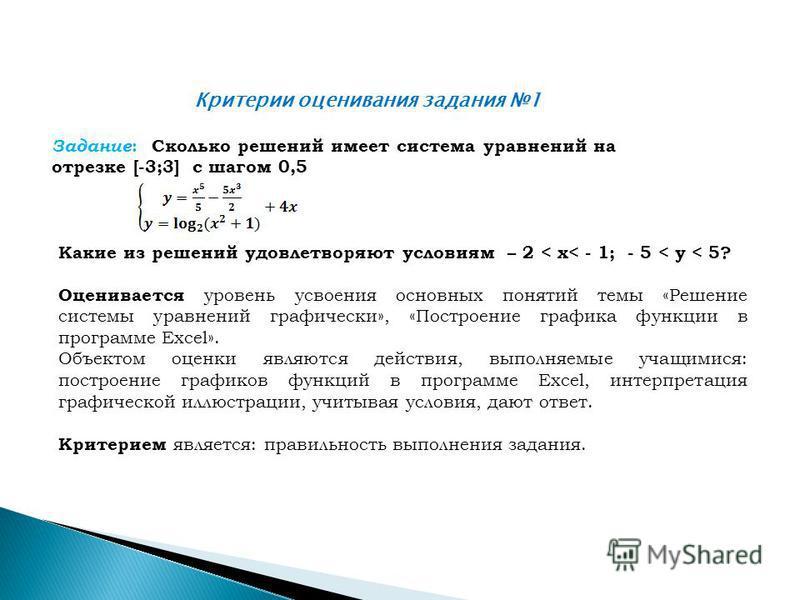 Критерии оценивания задания 1 Задание : Сколько решений имеет система уравнений на отрезке [-3;3] с шагом 0,5 Какие из решений удовлетворяют условиям – 2 < x< - 1; - 5 < y < 5? Оценивается уровень усвоения основных понятий темы «Решение системы уравн