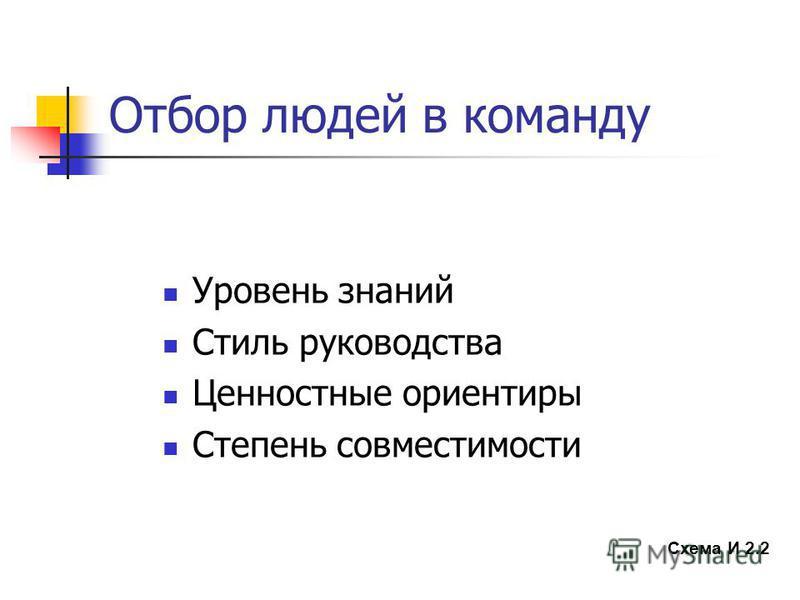 Отбор людей в команду Уровень знаний Стиль руководства Ценностные ориентиры Степень совместимости Схема И 2.2