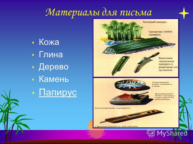 Материалы для письма s Кожа s Глина s Дерево s Камень s Папирус