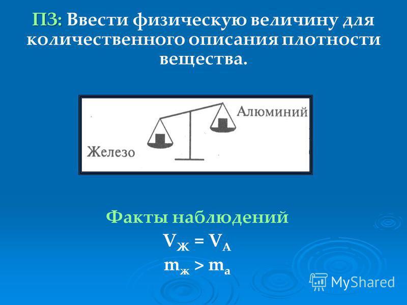 ПЗ: Ввести физическую величину для количественного описания плотности вещества. Факты наблюдений V Ж = V А m ж > m а Ll ll