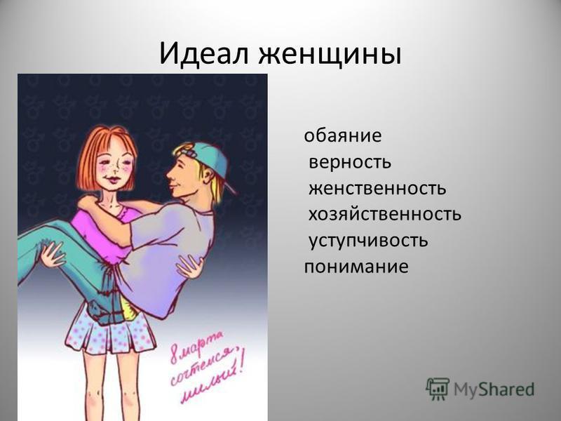 Идеал женщины обаяние верность женственность хозяйственность уступчивость понимание