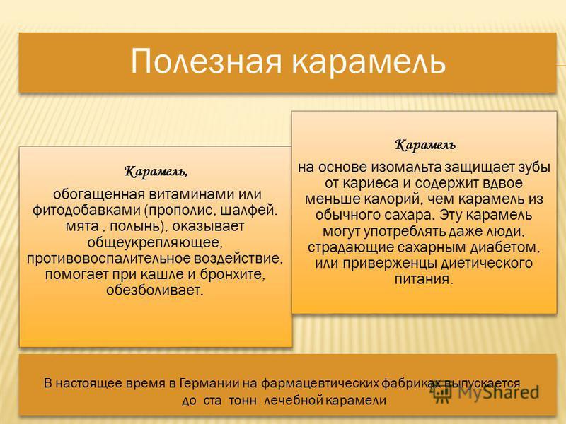 Полезная карамель Карамель, обогащенная витаминами или фито добавками (прополис, шалфей. мята, полынь), оказывает общеукрепляющее, противовоспалительное воздействие, помогает при кашле и бронхите, обезболивает. Карамель на основе изомальта защищает з