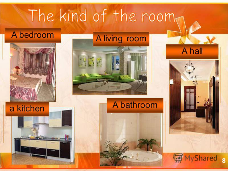 8 a kitchen A bedroom A living room A bathroom A hall