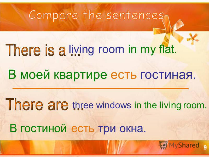 9 living room in my flat. three windows in the living room. В моей квартире есть гостиная. В гостиной есть три окна.